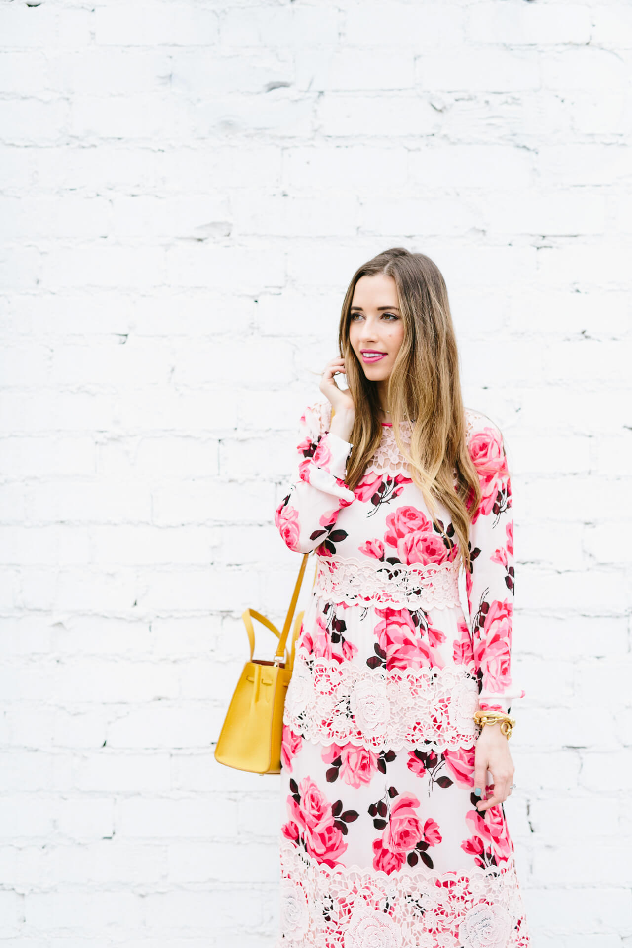 pink floral and lace dress