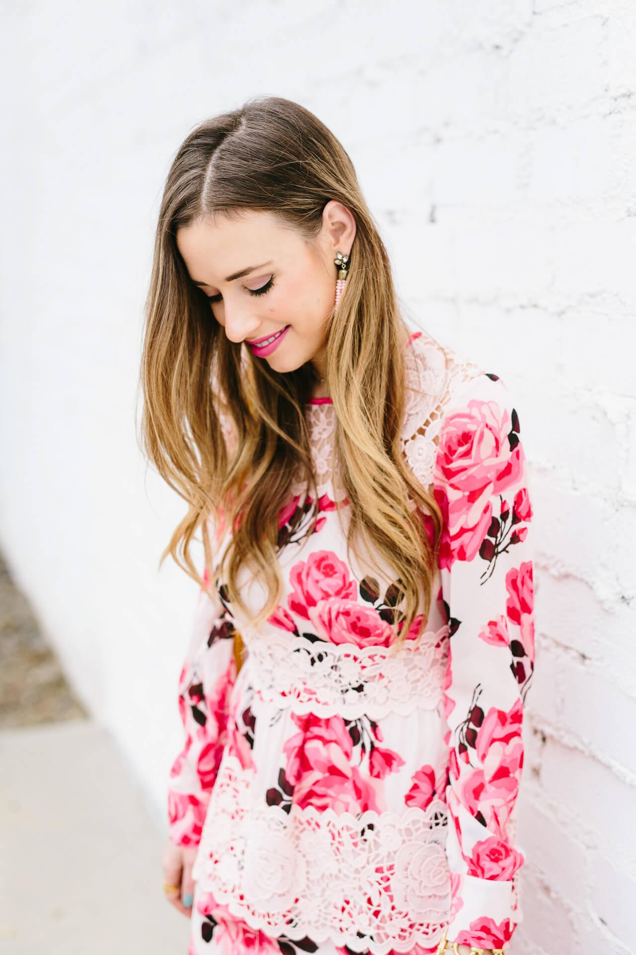 the prettiest rose print dress