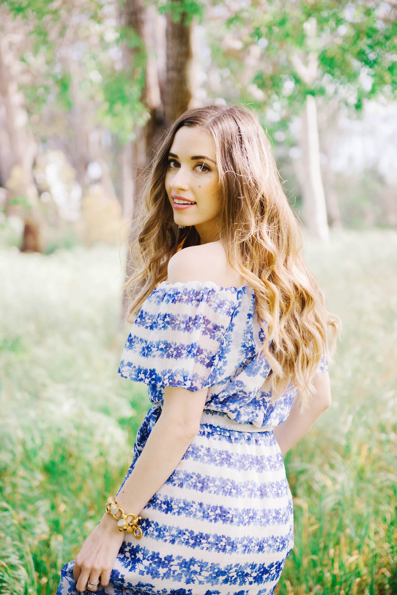 off the shoulder dress that's perfect for spring