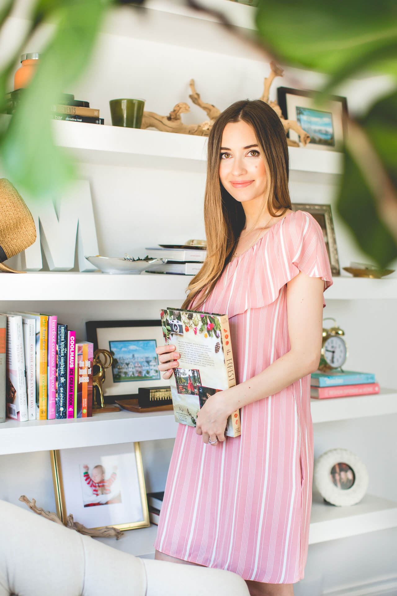 a pretty pink striped dress for spring