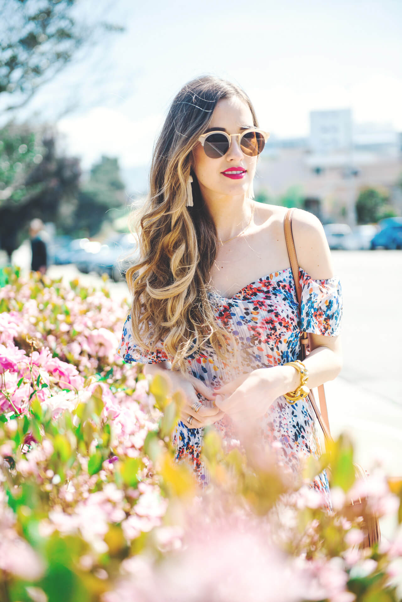 mixed floral maxi dress with off the shoulder detail