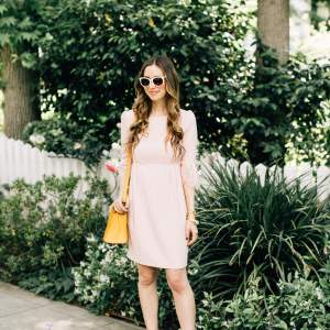 outfit inspiration for spring with a pretty bell sleeve lace dress
