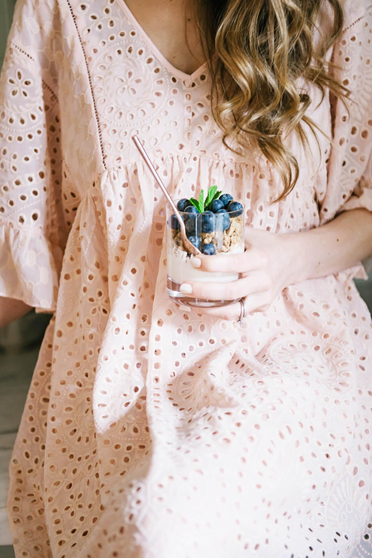 beautiful blueberry parfait with pretty peach dress