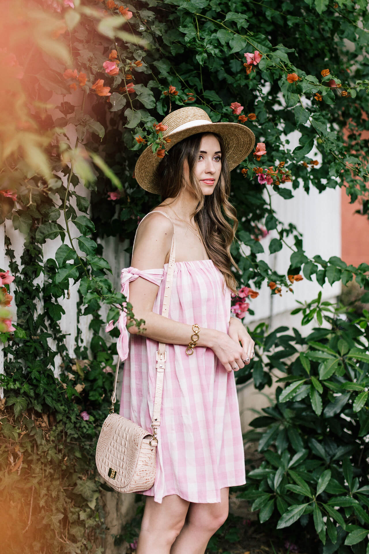 la blogger in pink off the shoulder gingham dress - M Loves M @marmar