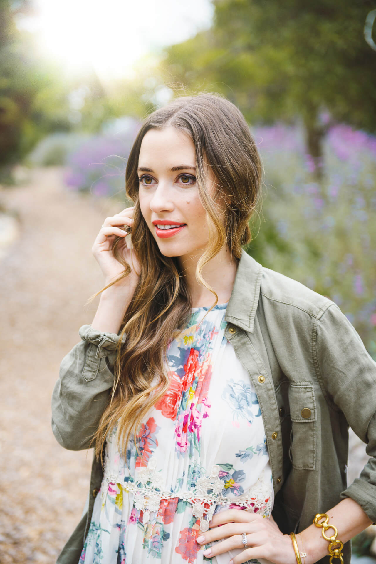 Spring lip with floral anthropologie dress- M Loves M @marmar