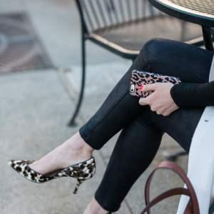 leopard heels with black pants