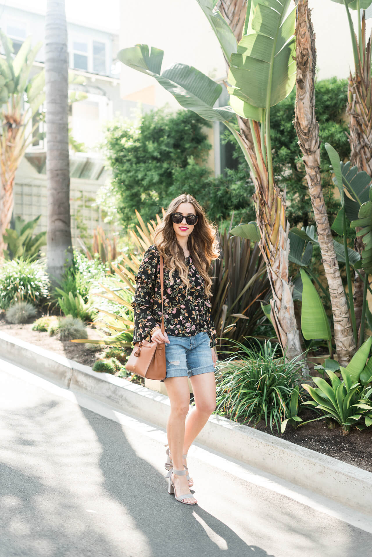 how to style a long sleeve blouse with denim shorts - M Loves M