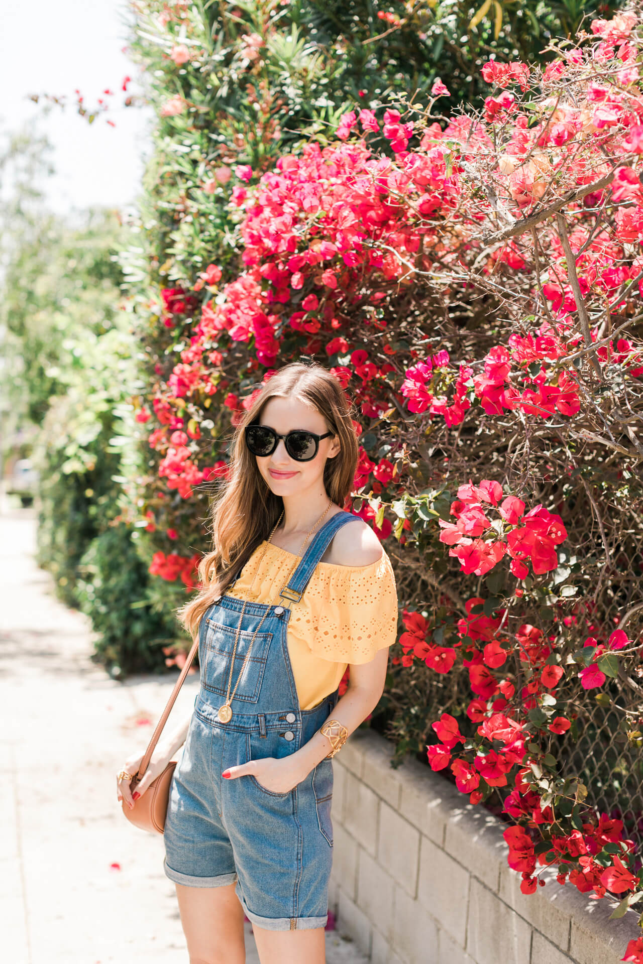 soaking up the sun today, I'm loving this bright yellow off the shoulder top - M Loves M @marmar