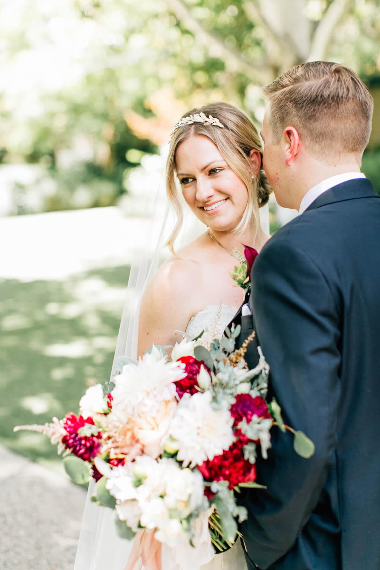 bridal photos for summer wedding