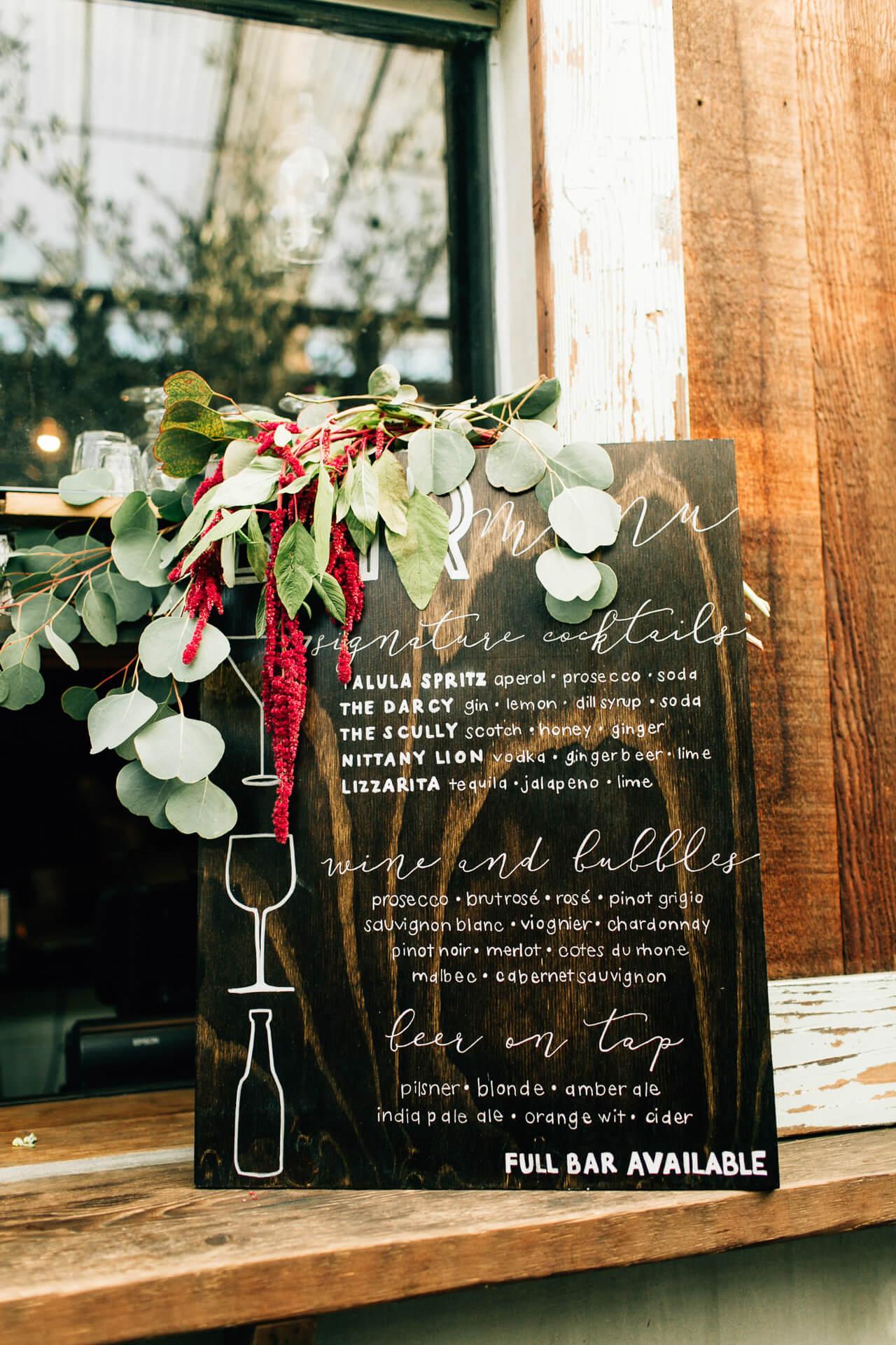 homemade signage for wedding