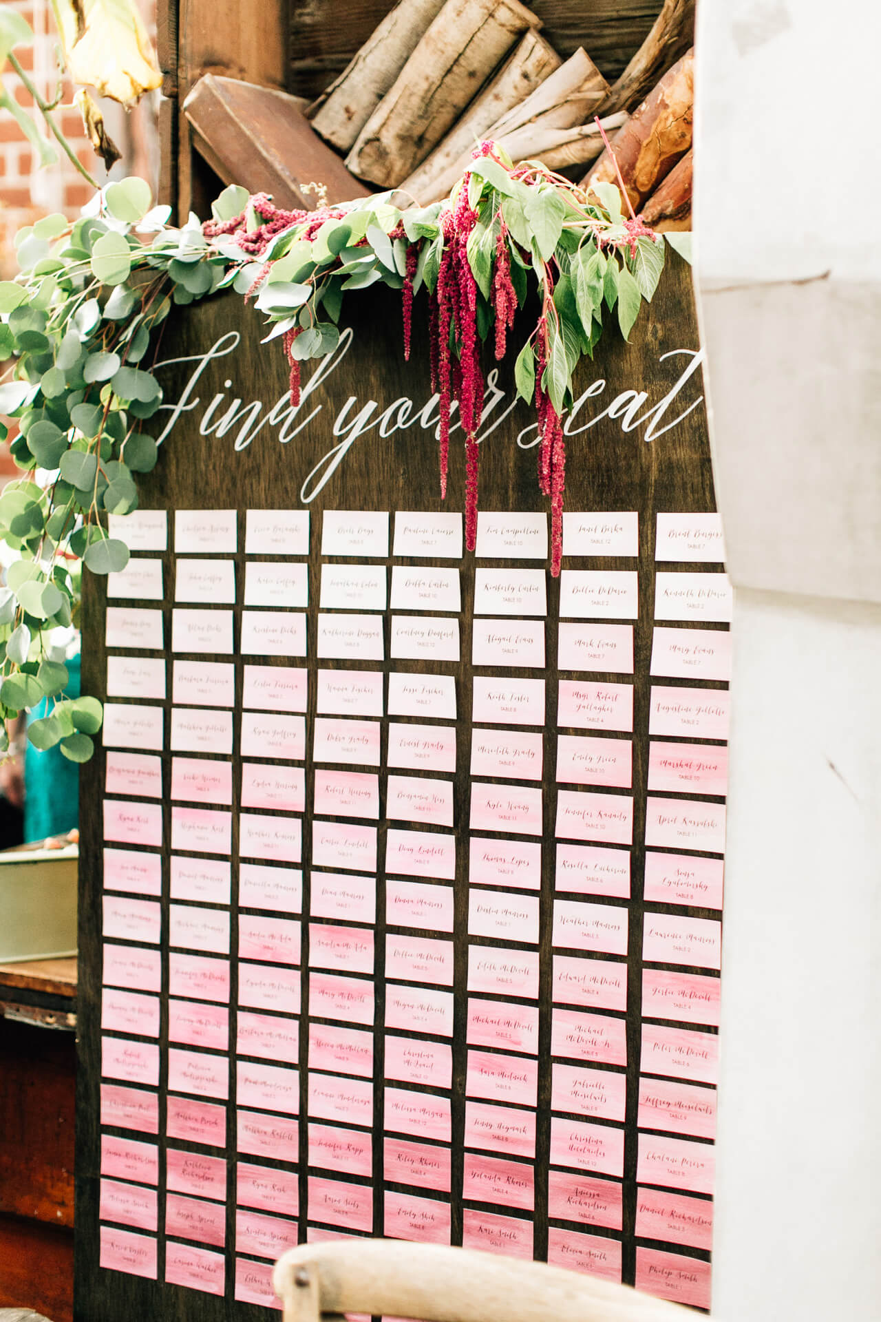 pink ombre seating chart- wedding inspiration