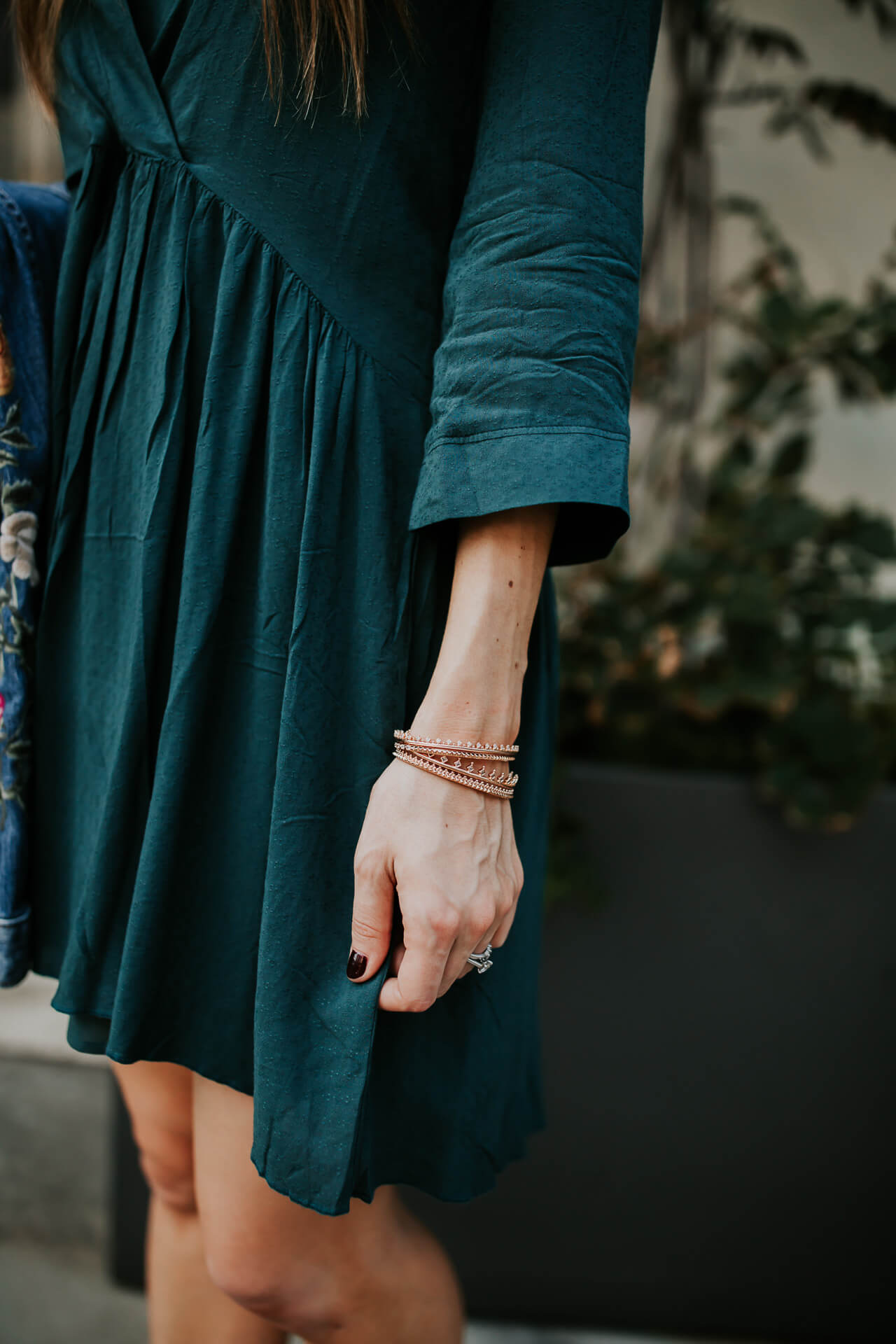 Styling cute dainty jewelry with a fall colored dress