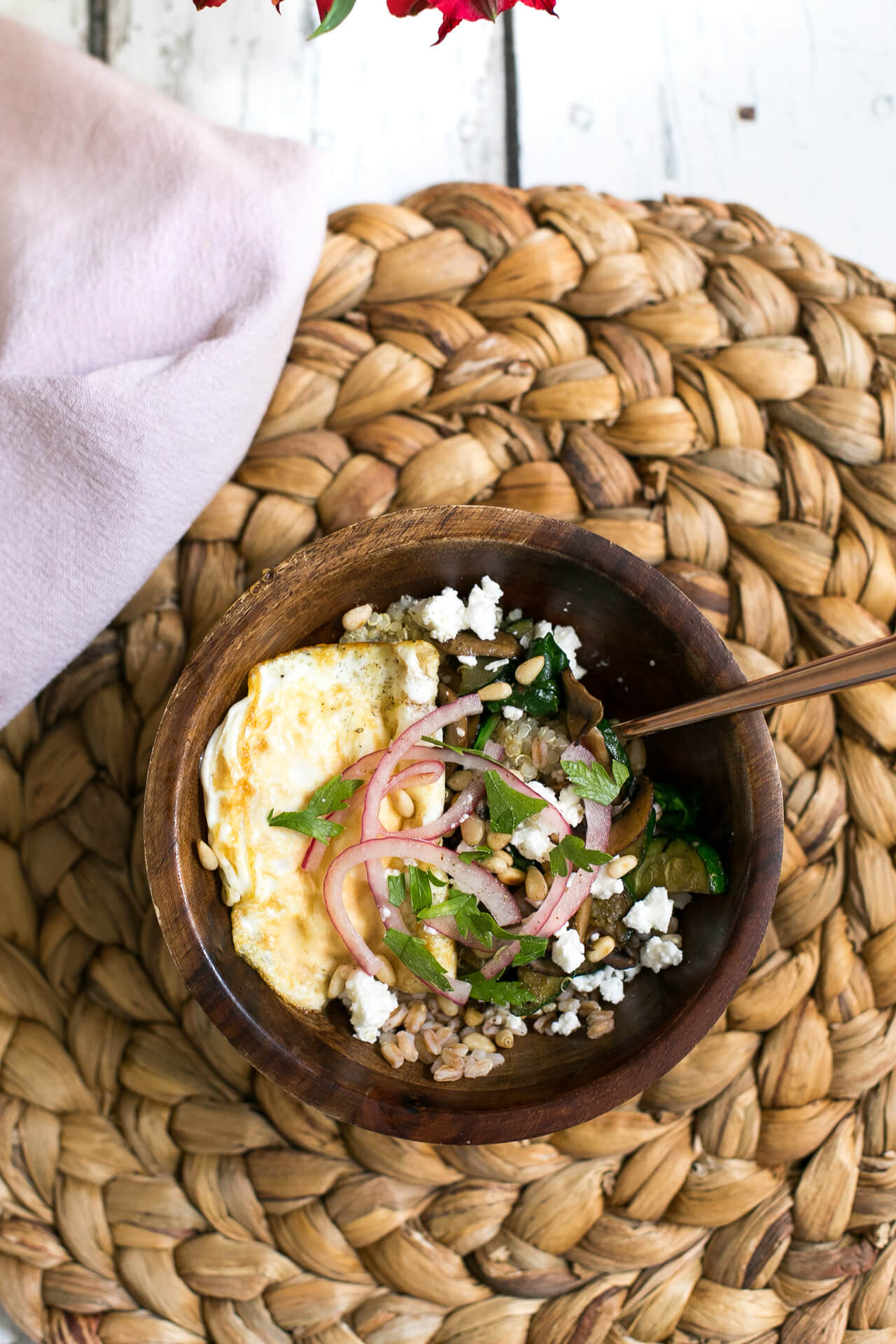 a healthy mushroom grain bowl recipe