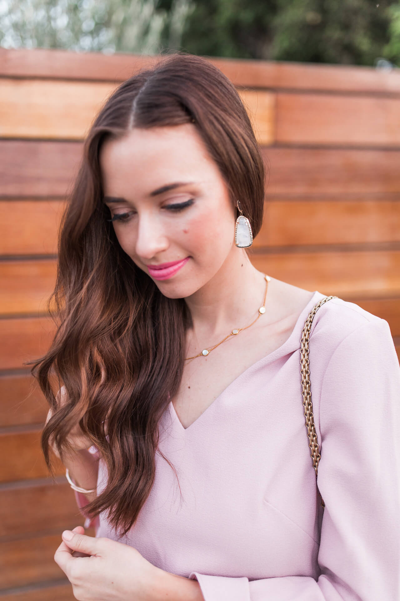 delicate jewelry with blush pink dress