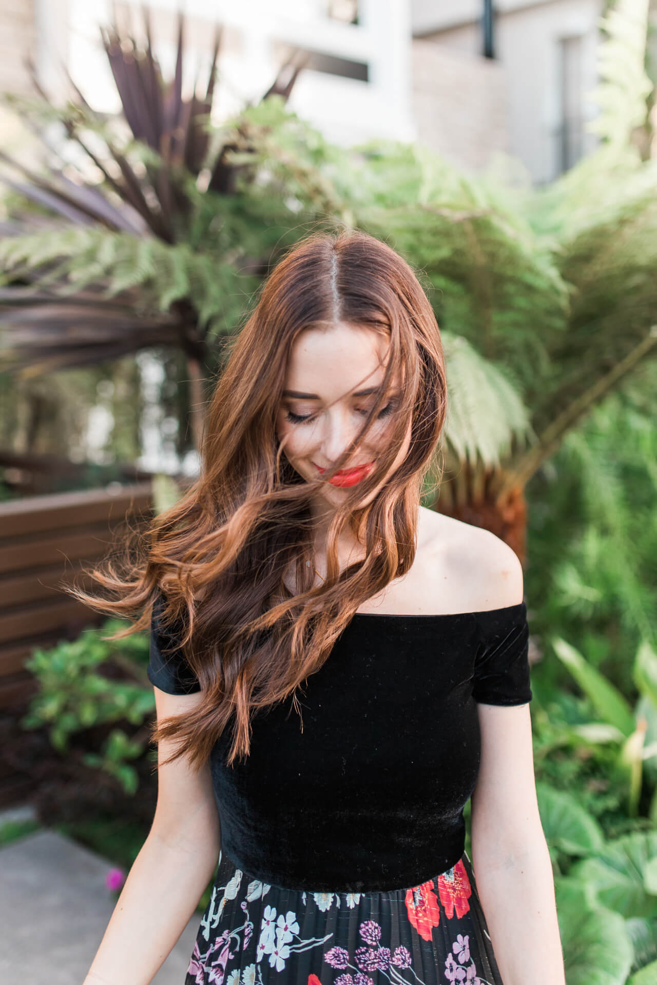 hair blowing in the wind with cute lip color