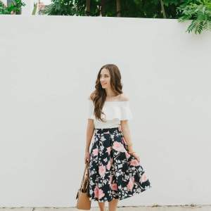 Floral skirt and white off the shoulder top + weekly instagram giveaways - M Loves M @marmar