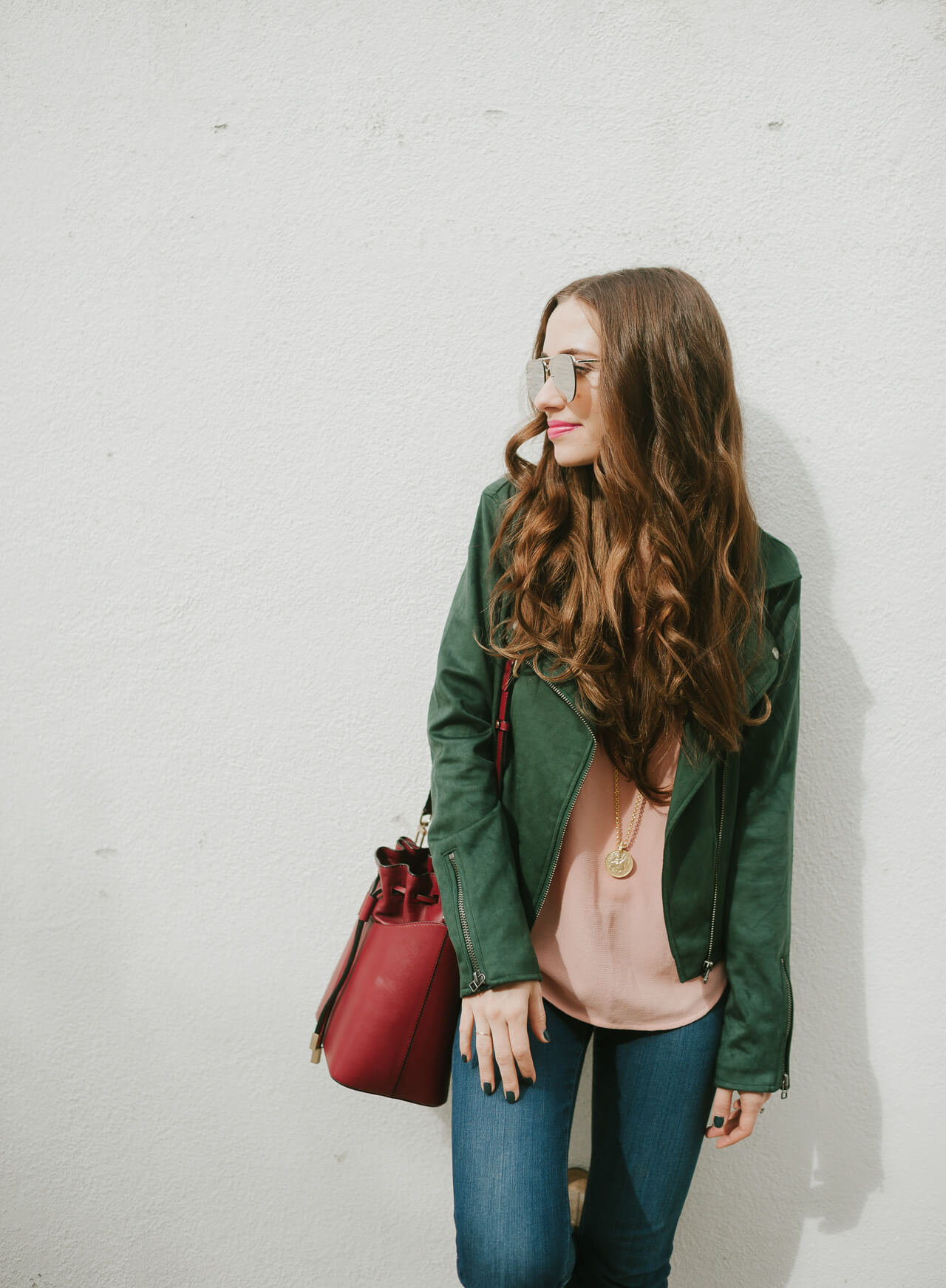 the cutest green suede moto jacket! Such a good styling piece for fall - M Loves M @marmar