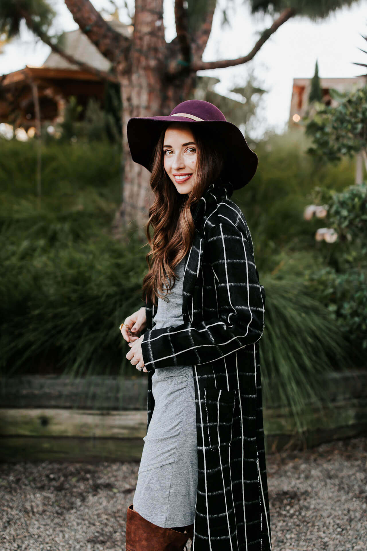 a gray dress and plaid coat look for Fall - M Loves M @marmar