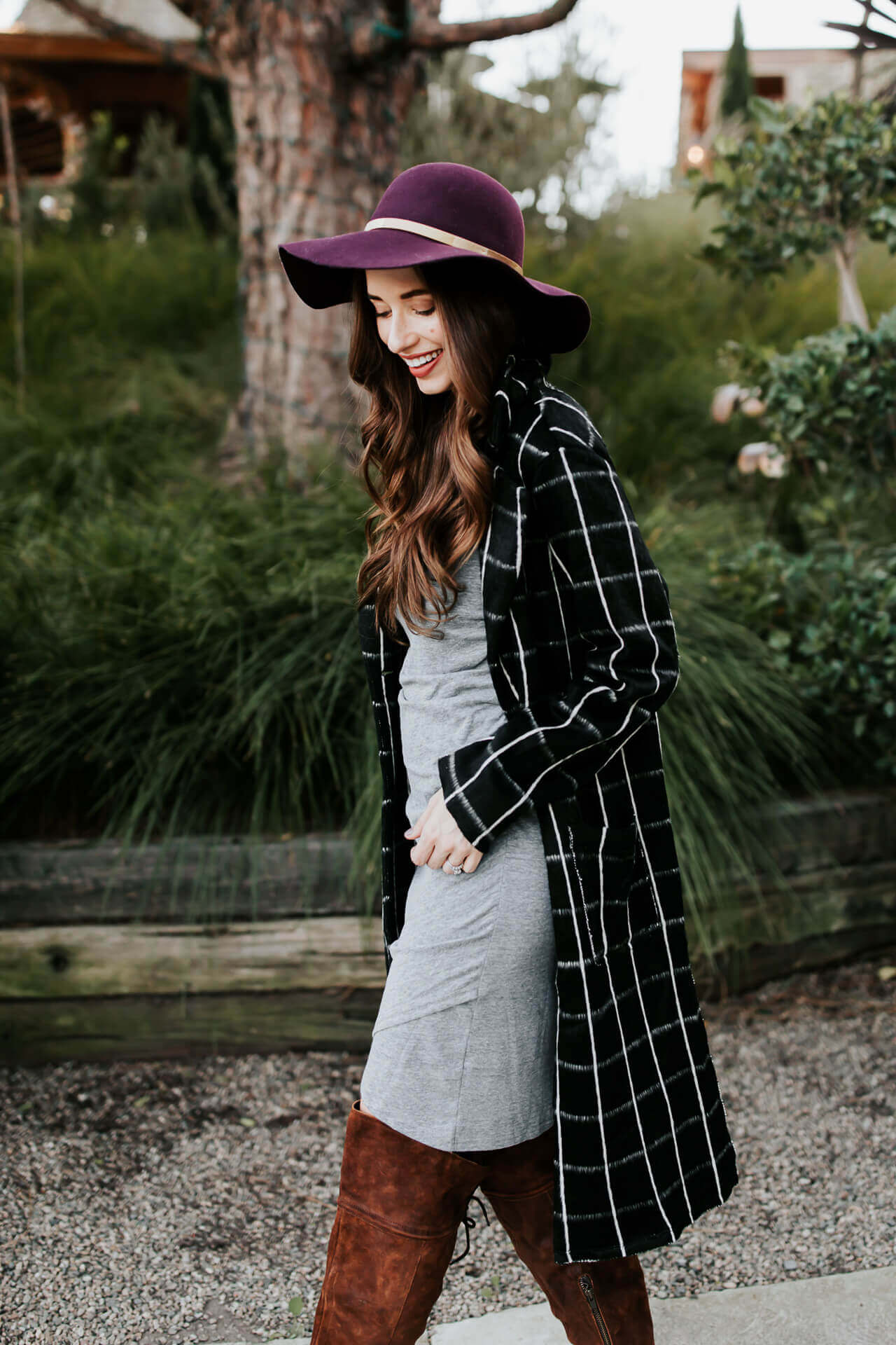 a cute layered fall outfit with plaid and burgundy