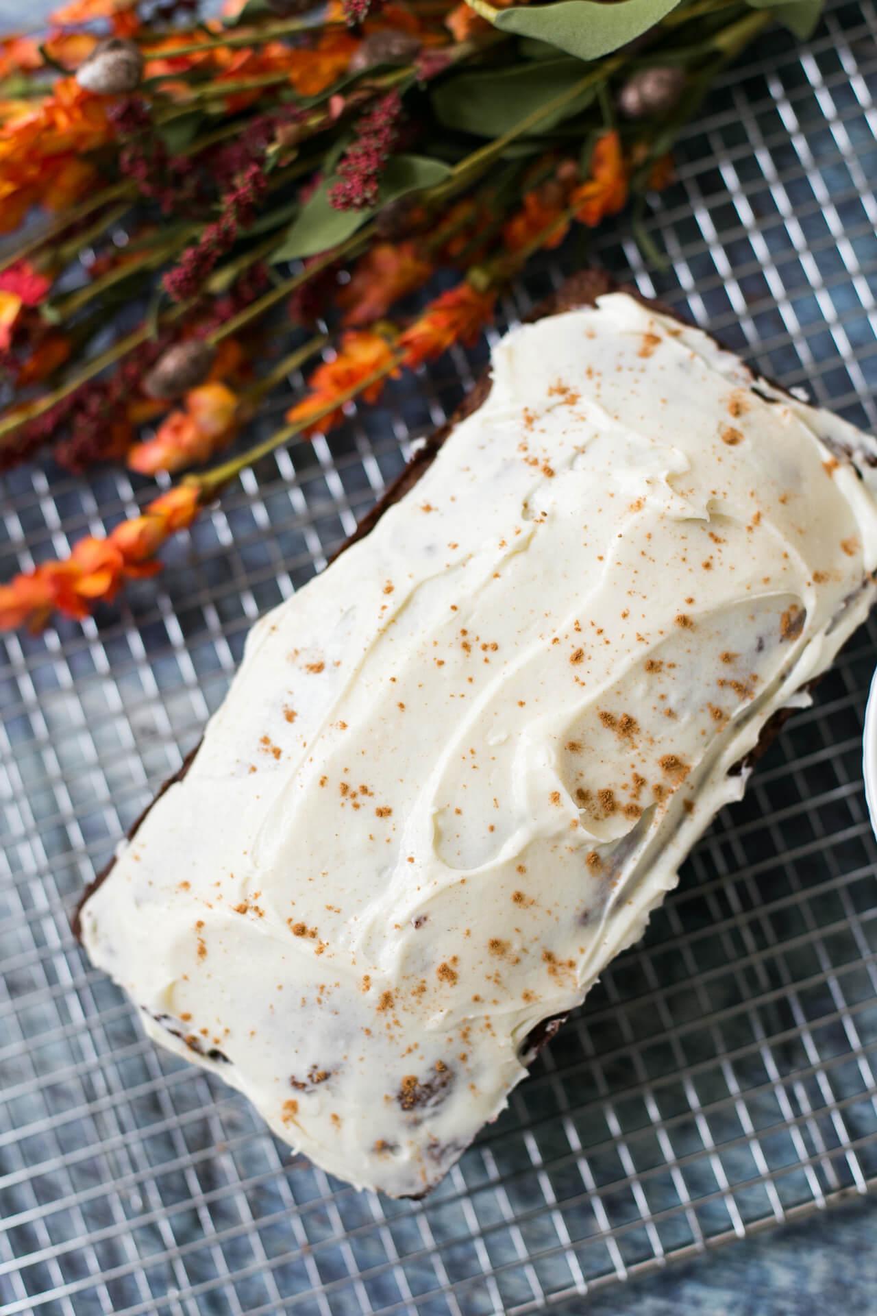 a pumpkin spice latte bread recipe with cream cheese glaze - M Loves M @marmar