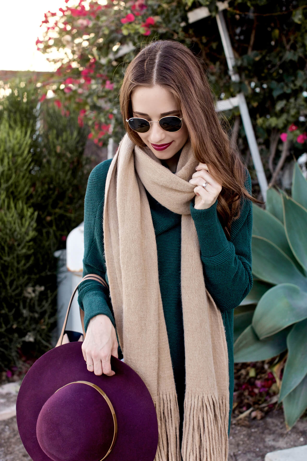 I love the color and look of this scarf with any sweater in my closet especially this green one! - M Loves M