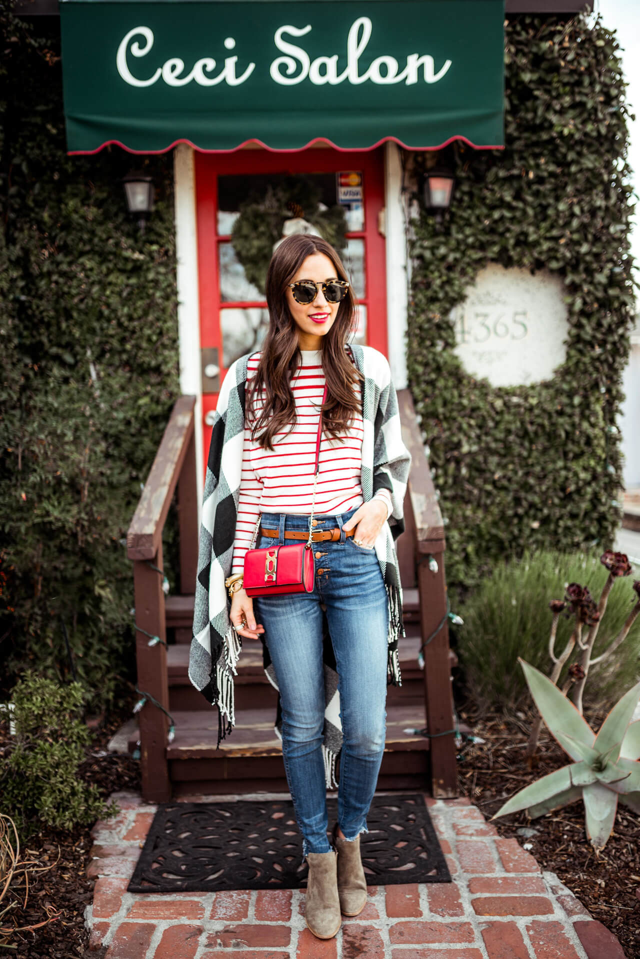 a stylish outfit with pops of red this season - M Loves M @marmar