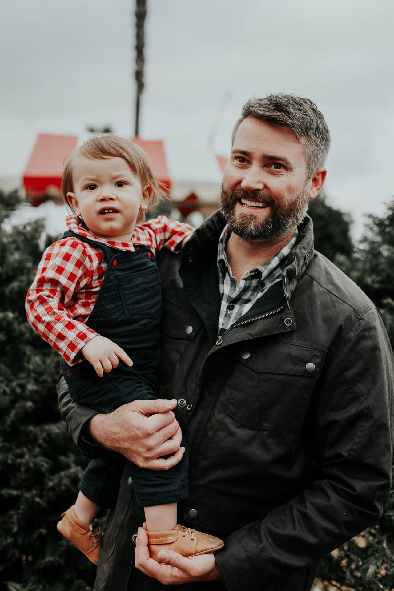Daddy and Baby at Christmas Tree farm - family photos