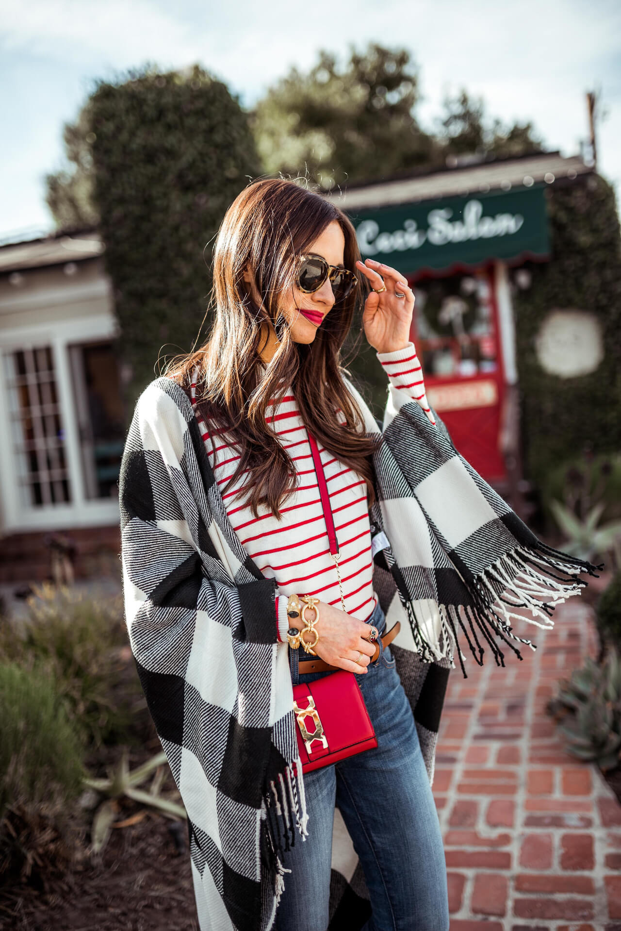 a pretty plaid poncho goes with almost anything