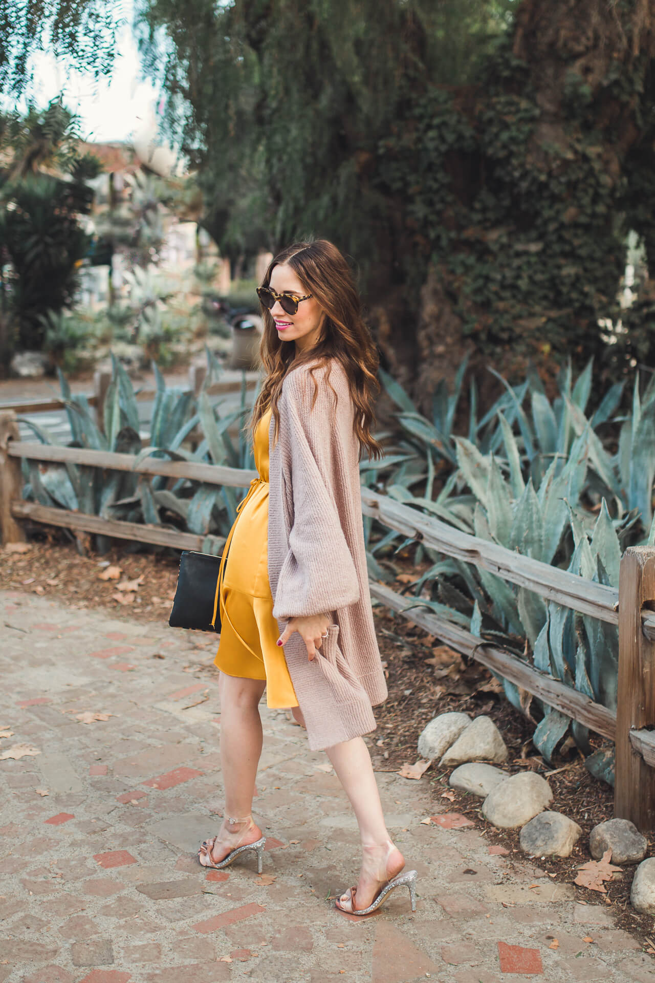 a cozy sweater with a silk dress - M Loves M @marmar