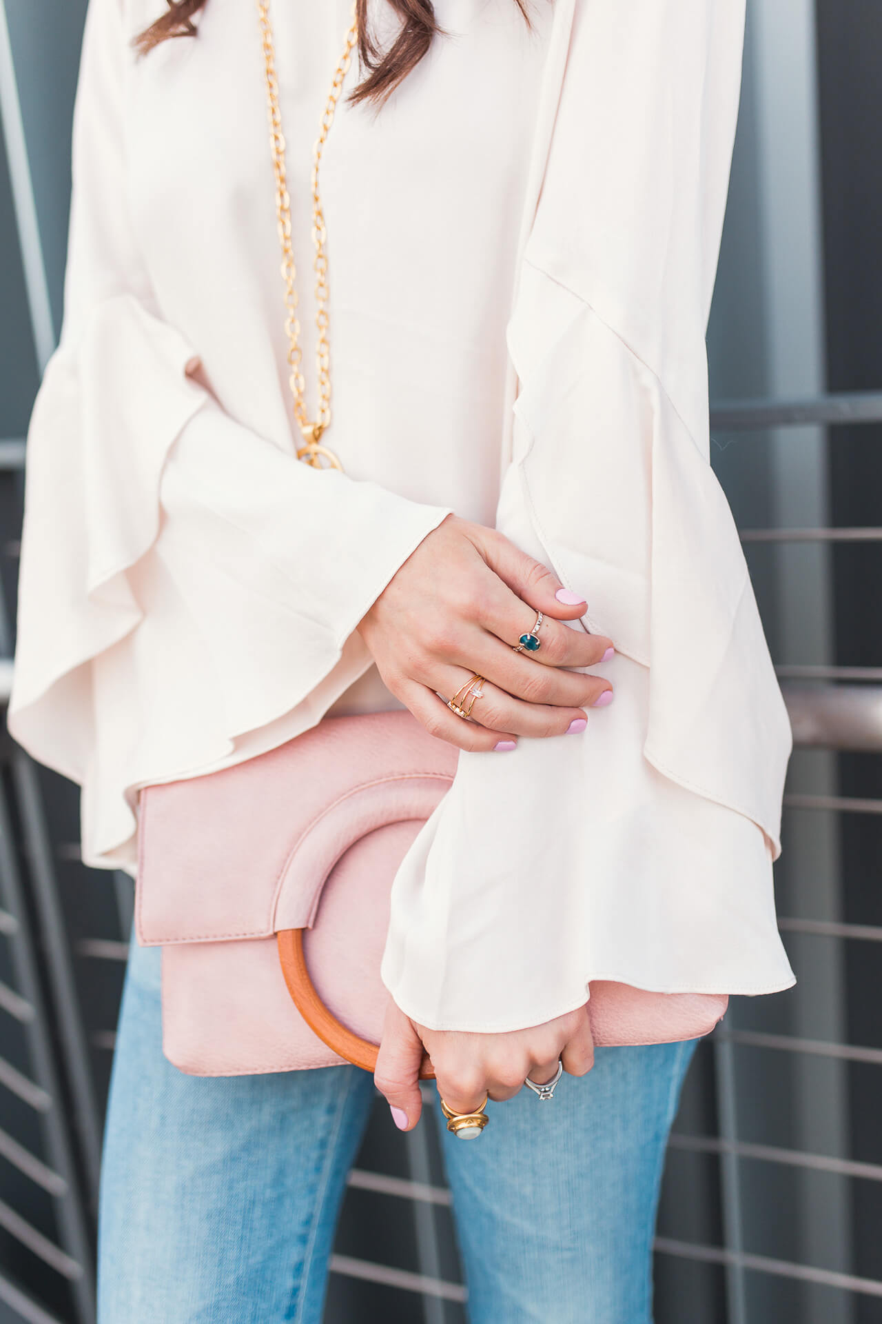 a wooden ring faux leather clutch for spring and summer