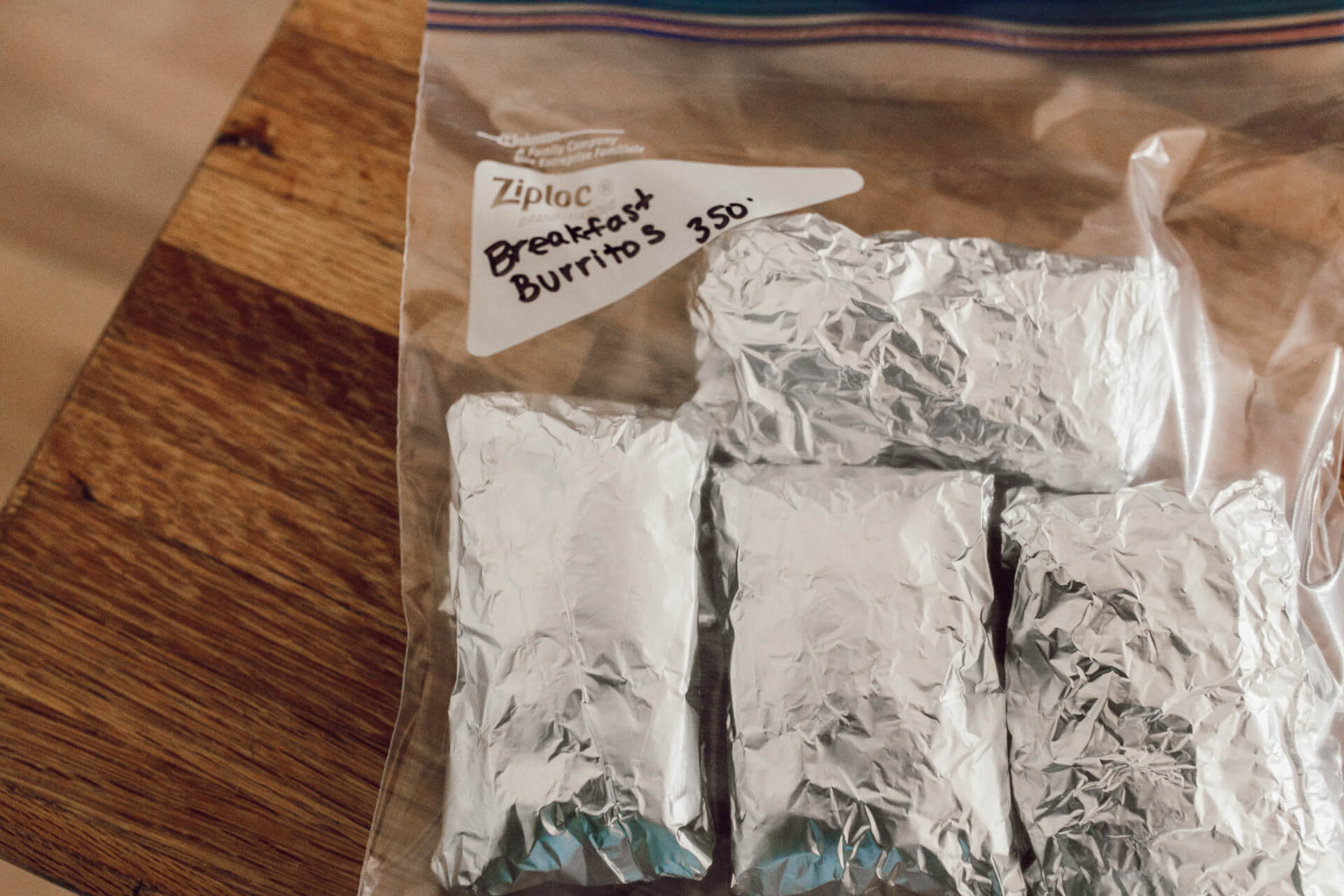 freeze your burritos in tin foil and side by side