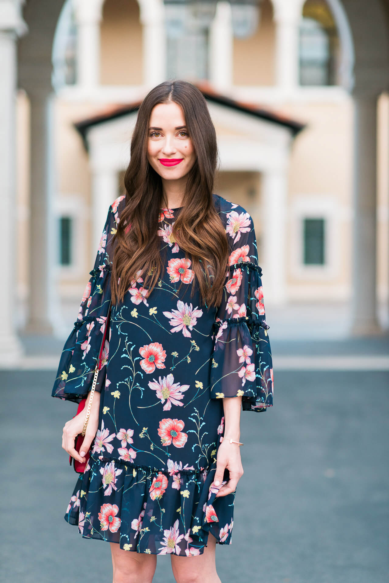 a feminine floral dress to wear this spring