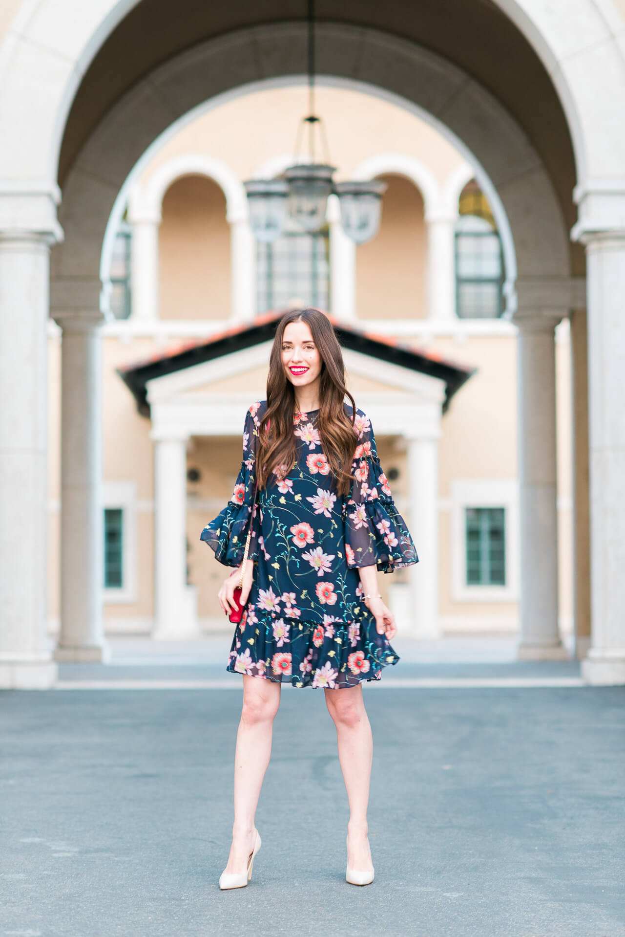 obsessed with this pretty navy and pink floral dress from Eliza J! Such a cute party dress for spring!