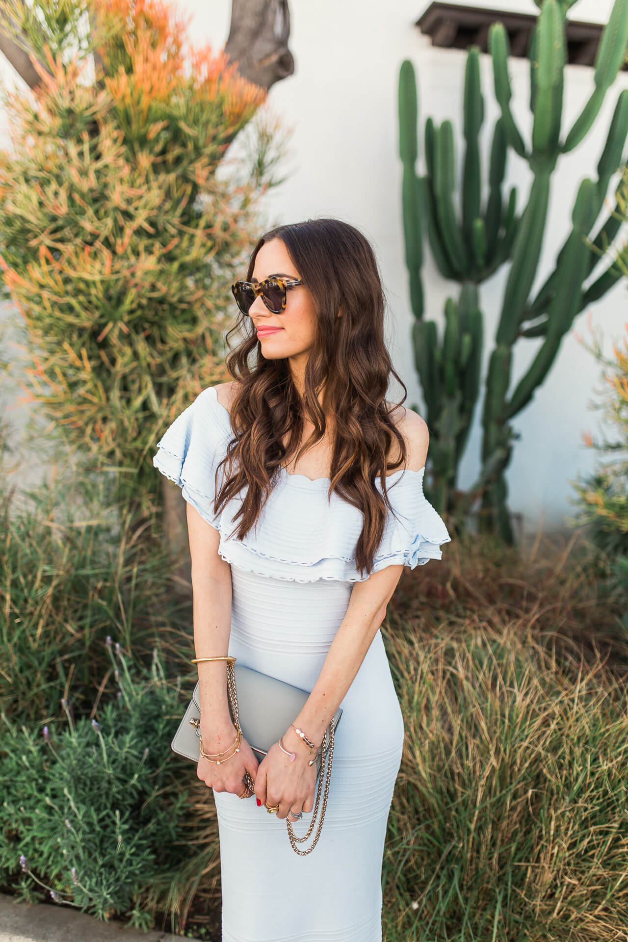 a light blue ruffle off the shoulder dress for spring - M Loves M LA and OC fashion blogger @marmar