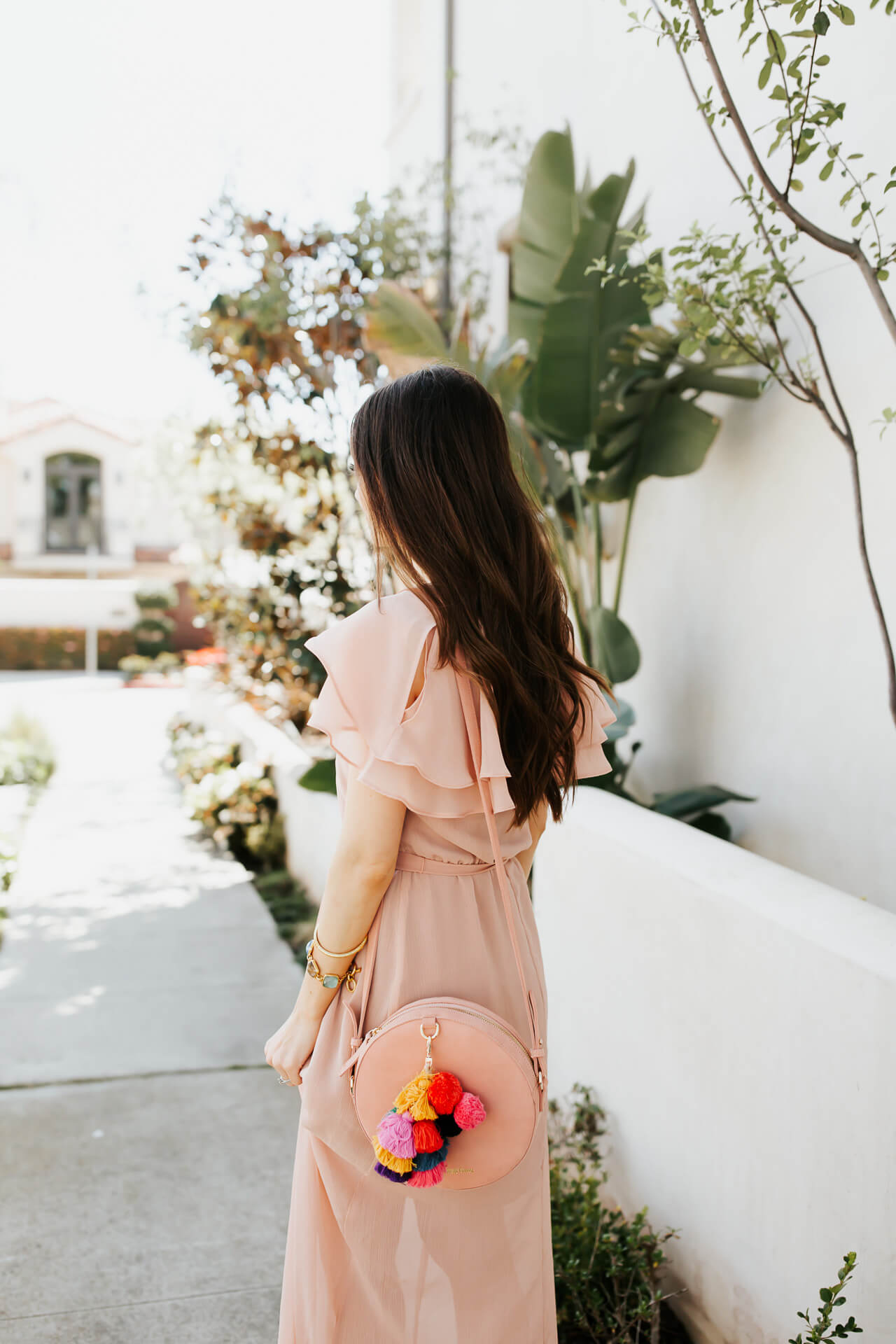 blush pink dress with suede circle bag from the wolf gang