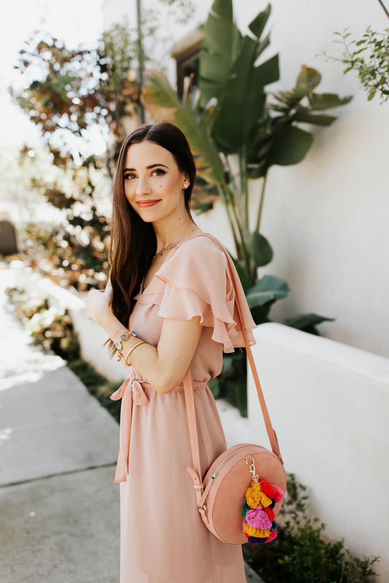 ruffled sleeves on pretty pink dress - feminine fashion blogger M Loves M @marmar