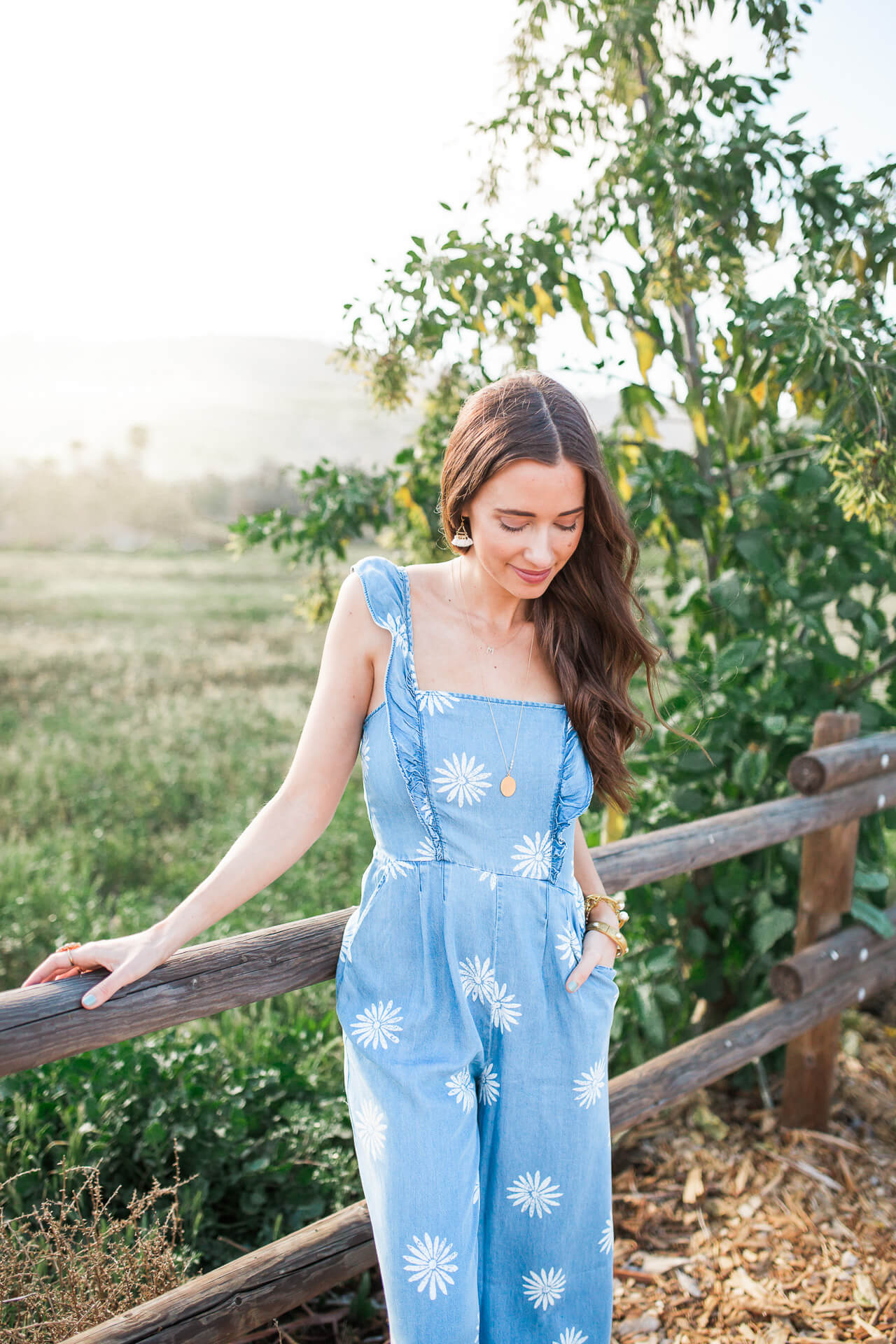 chambray jumpsuit from splendid with flower design