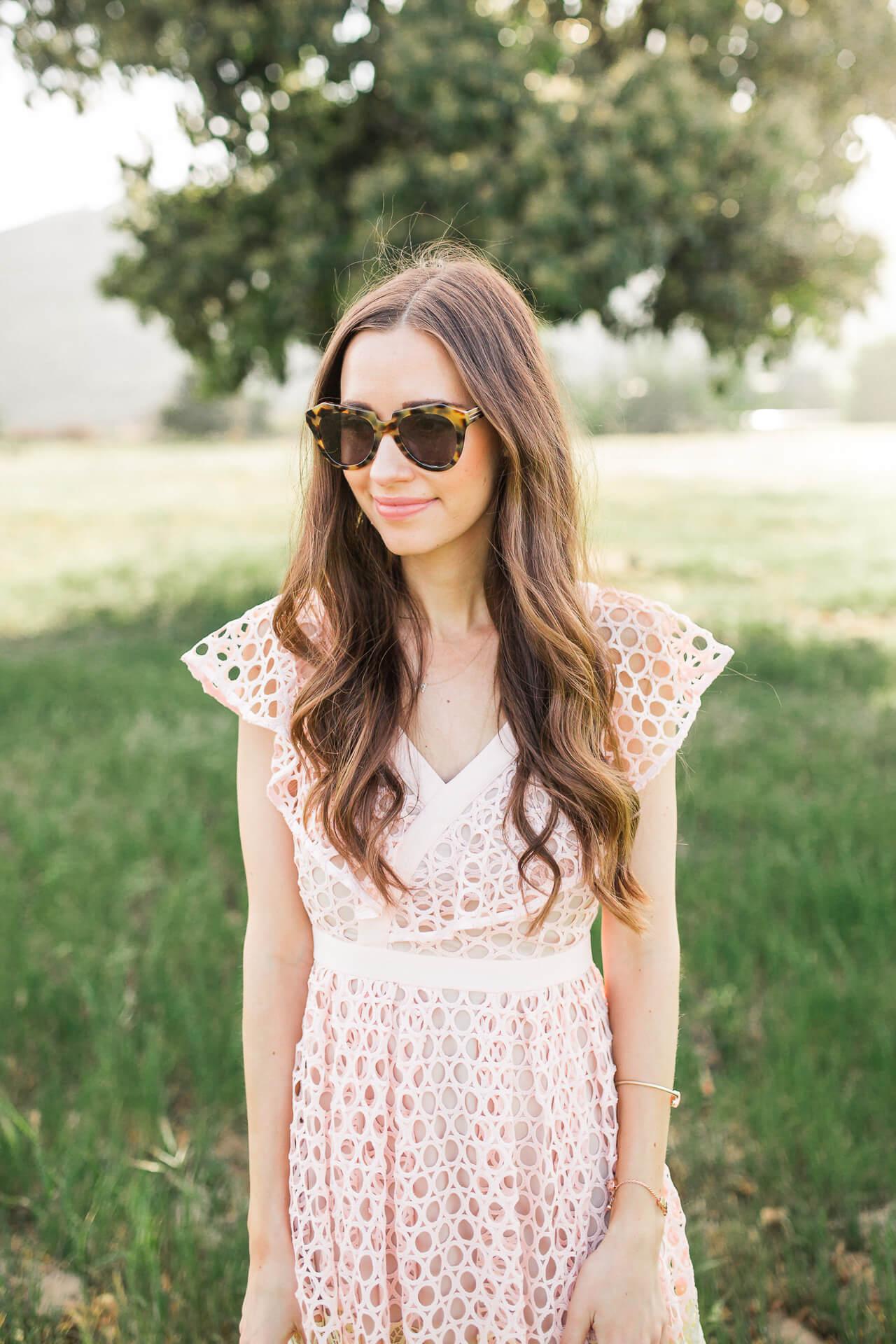 karen walker number one sunglasses with v-neck ruffled dress
