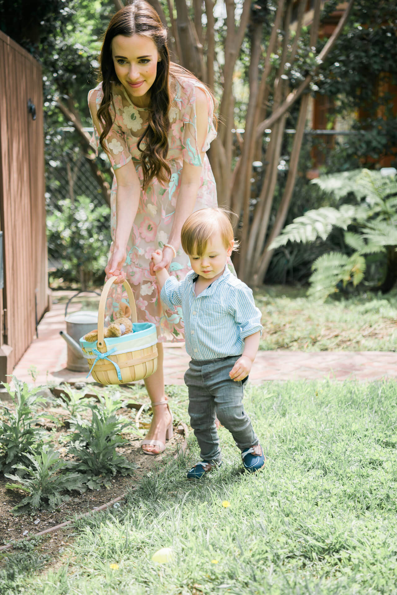 Mommy and Son Easter egg hunt