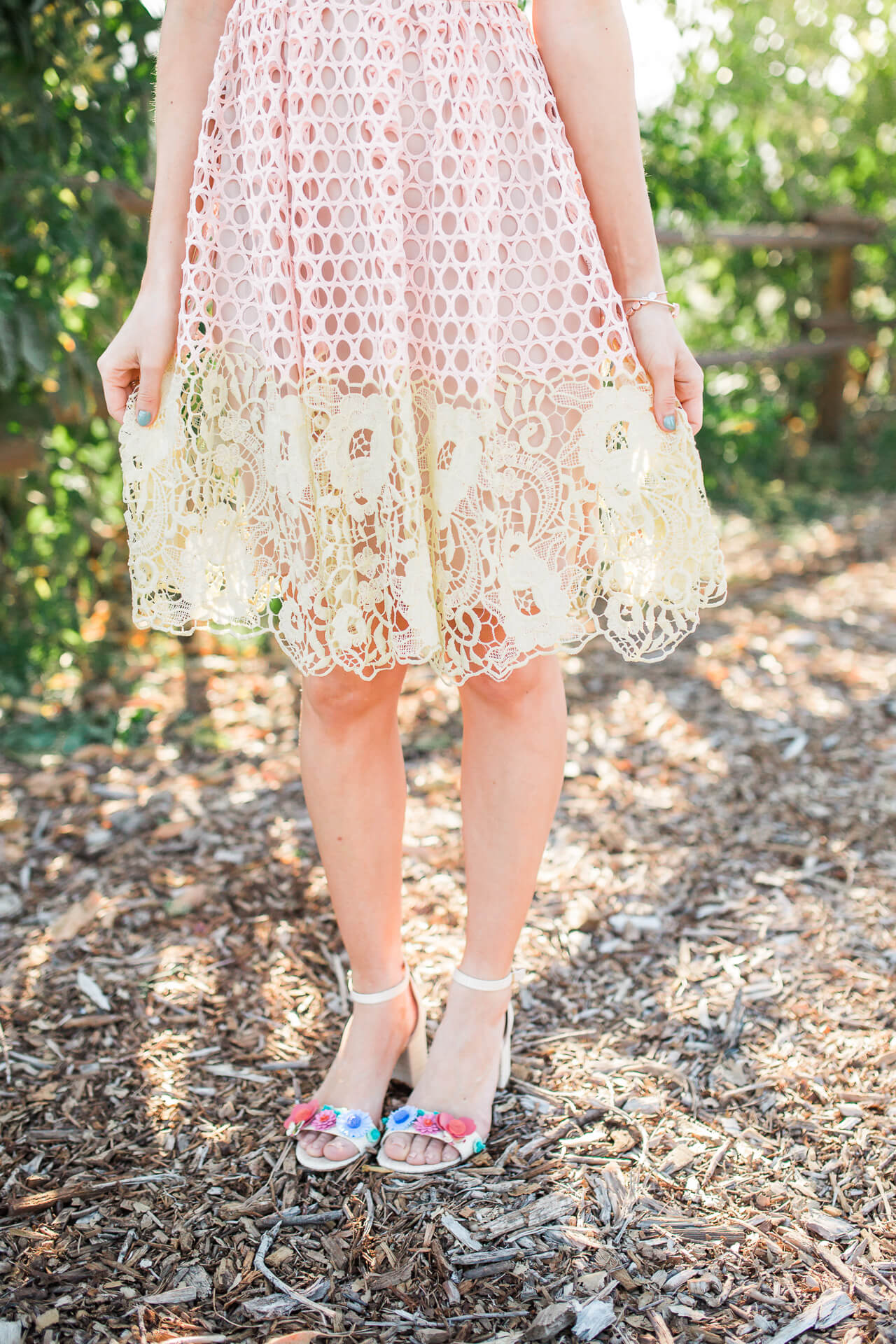 love the two-tone donna morgan dress with the floral applique kate spade sandal heels