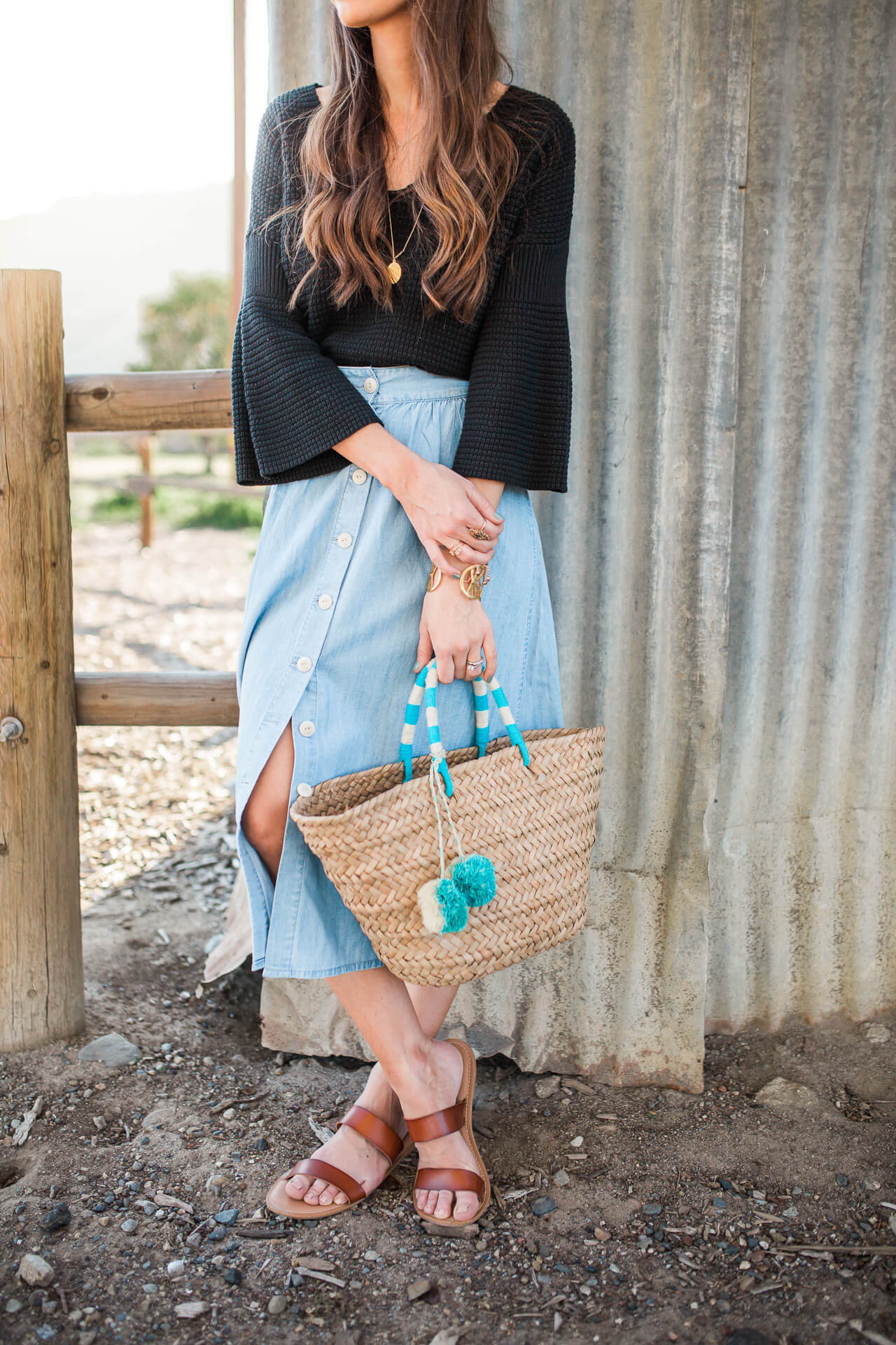 styling a button front skirt for spring with the most affordable sandals