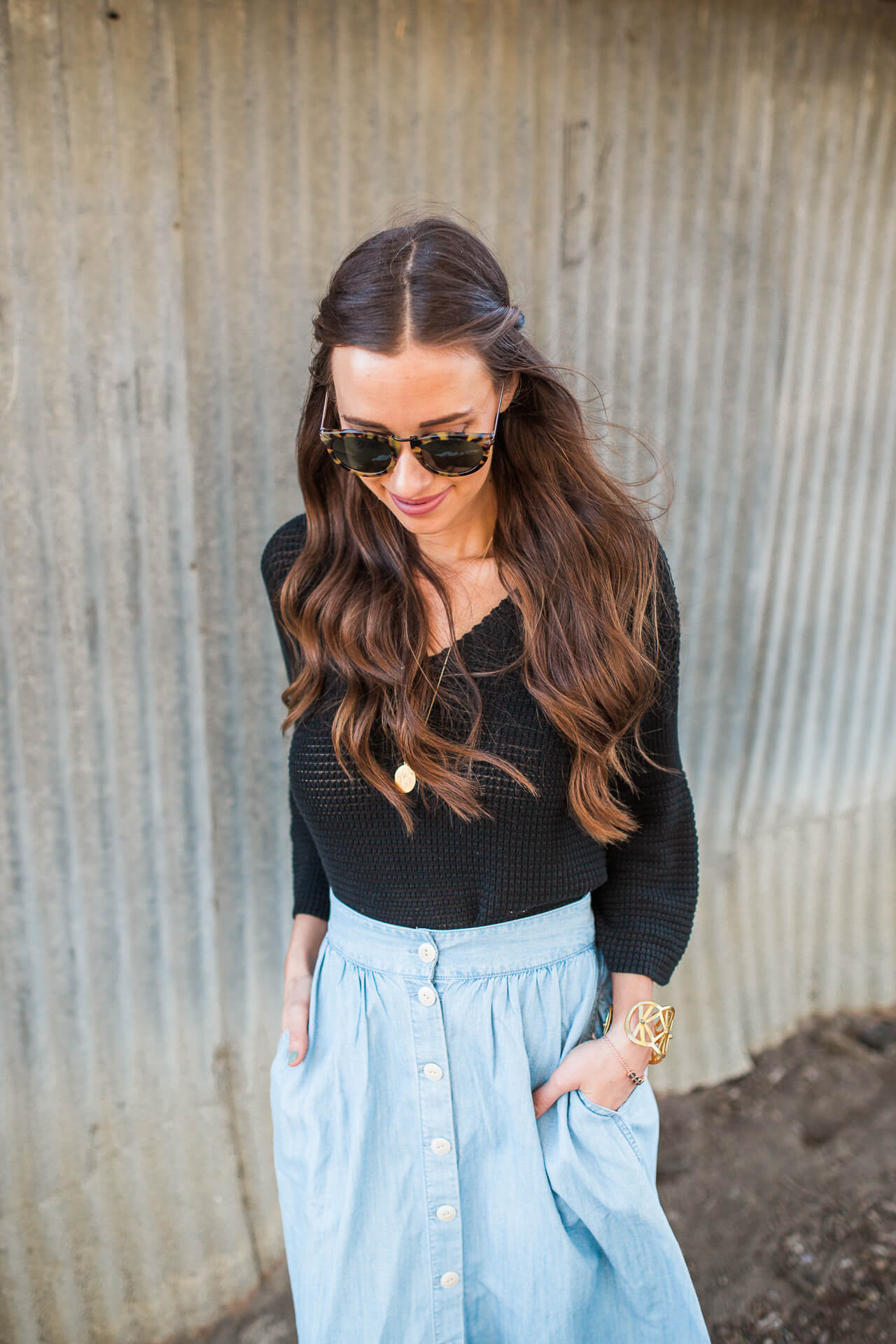 open knit sweater with blue chambray skirt