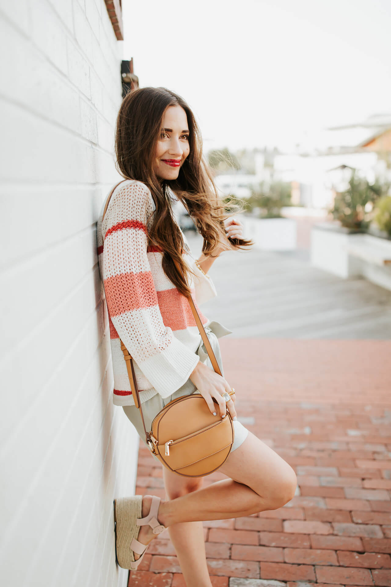 cute pink striped sweater for spring with circle crossbody bag - M Loves M @marmar