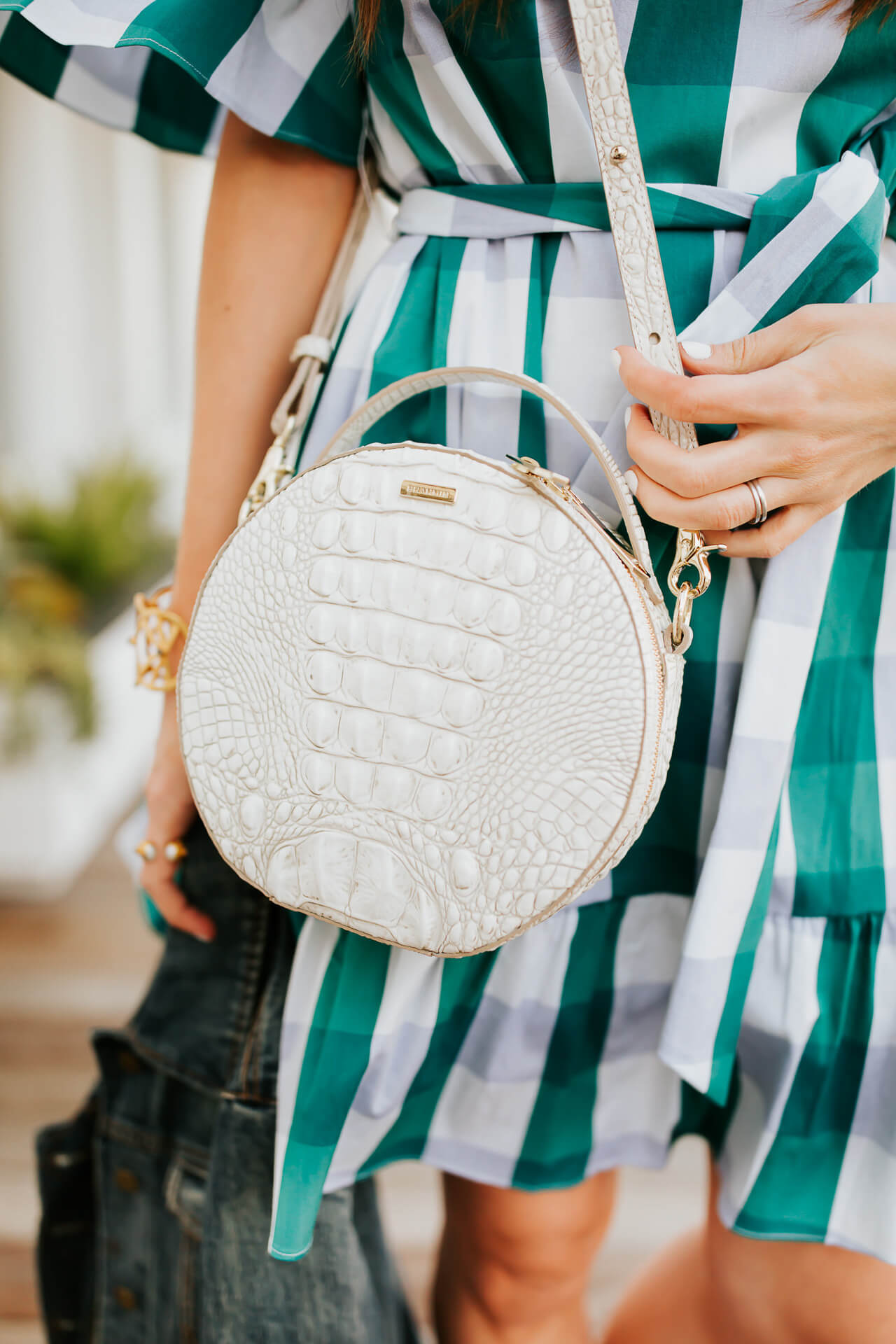 This white circle bag pairs perfectly with my blue and green checkered dress. | M Loves M @marmar