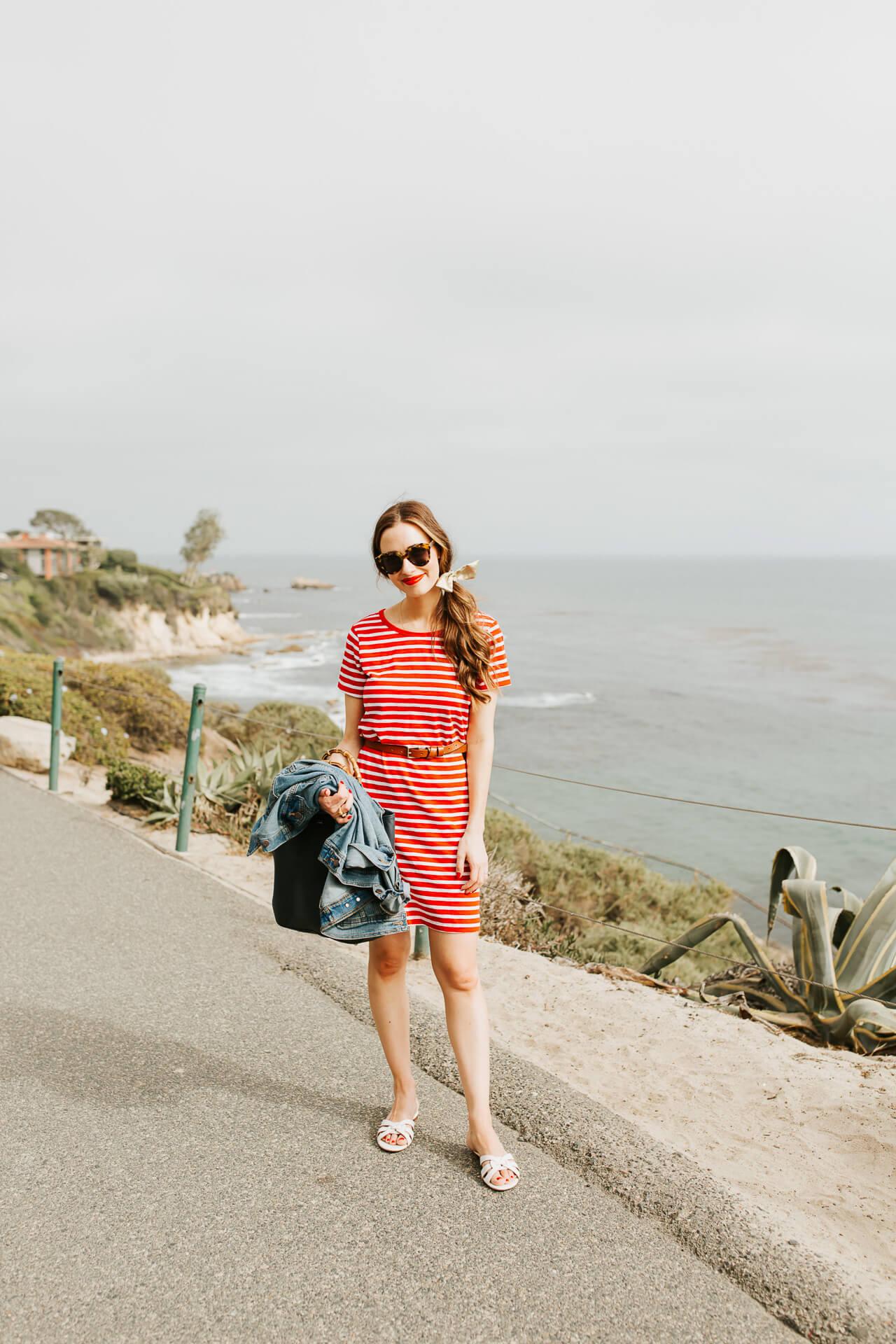 A fun summer t-shirt dress and denim jacket. | M Loves M @marmar