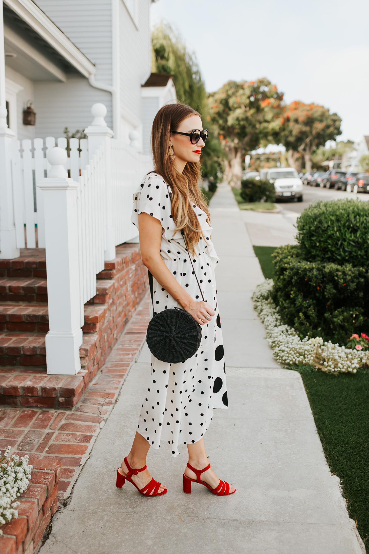 Red suede chunky heels with black and white polkadot dress. | M Loves M @marmar