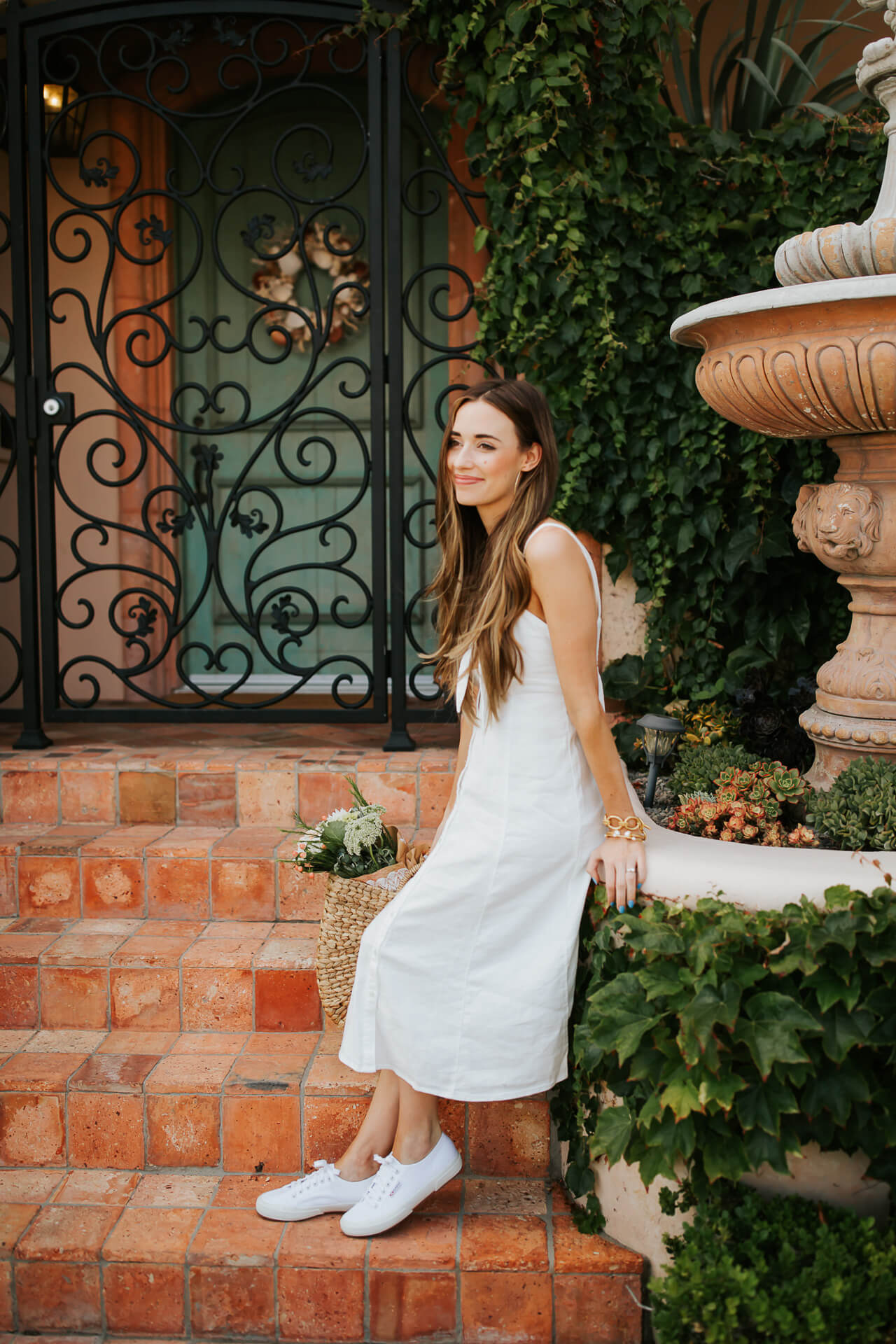 This white linen summer dress is so cute and casual. | M Loves M @marmar