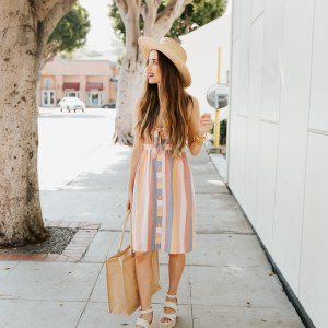 I love this multicolored striped dress! | M Loves M @marmar