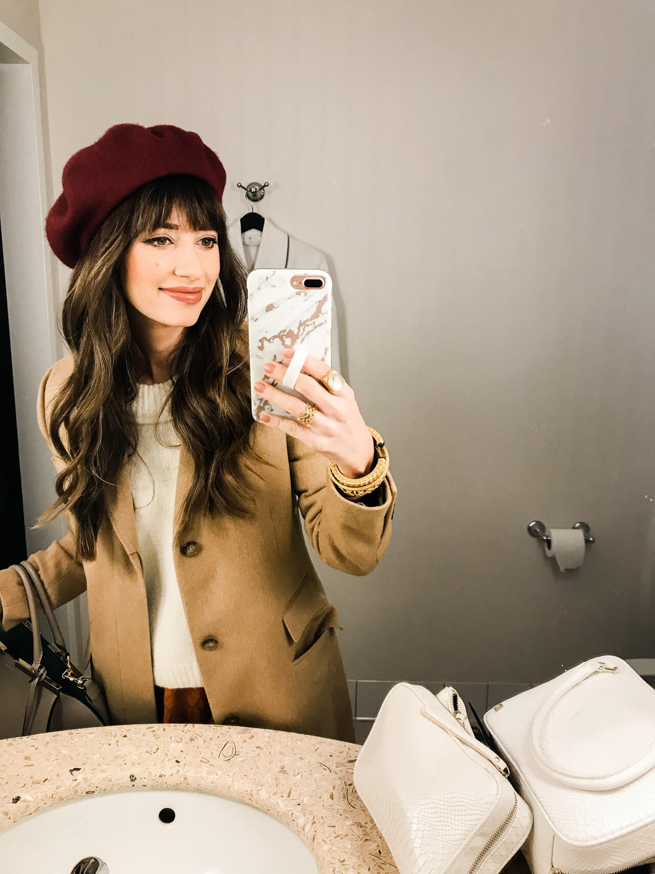I love this red beret from Nordstrom when paired with a camel Ralph Lauren coat! | M Loves M @marmar