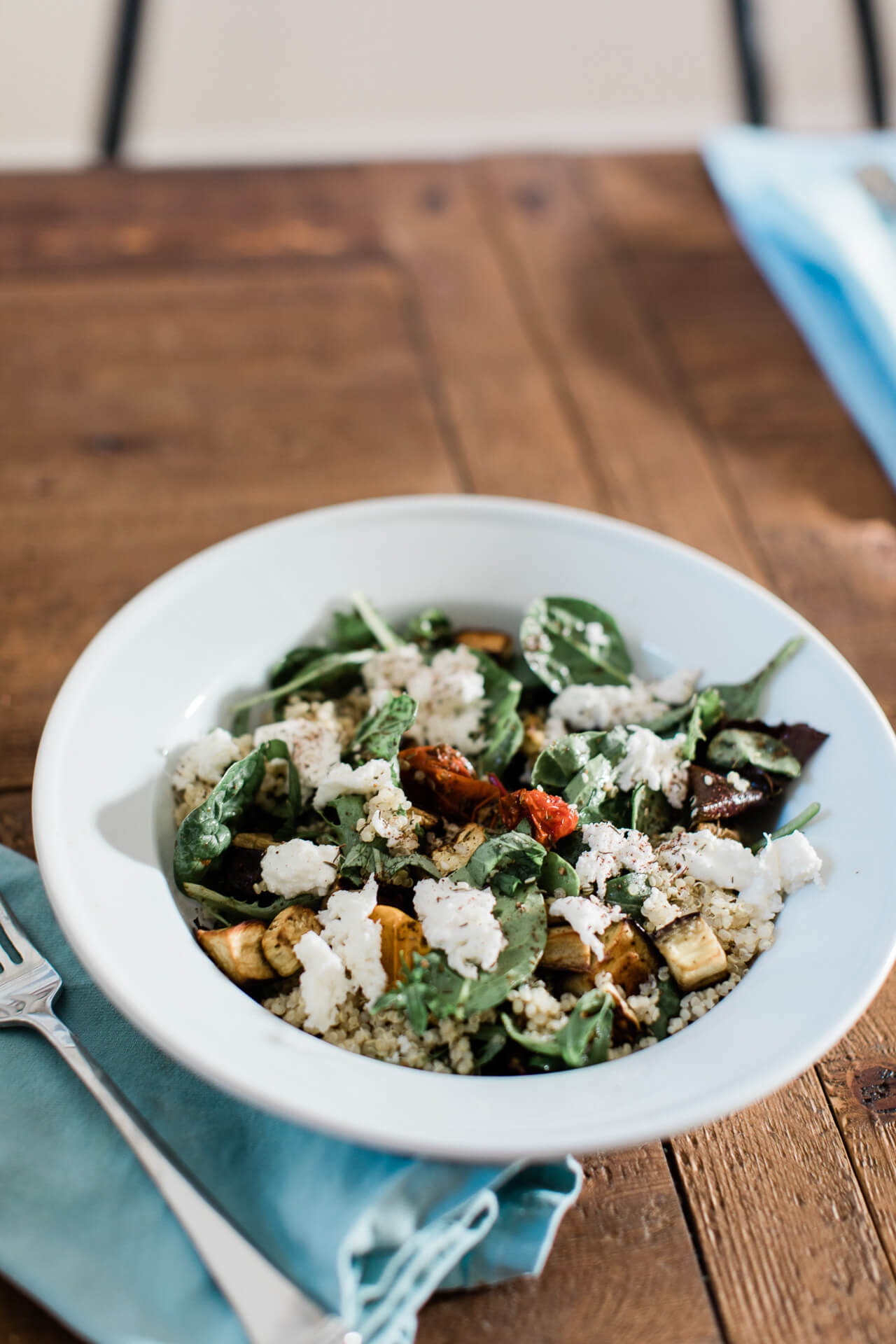 An easy eggplant pesto quinoa bowl! - M Loves M
